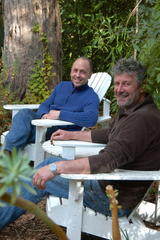 Relaxing in a tranquil spot by the back pond. Stephen and botanical illustrator Craig Lidgerwood.
