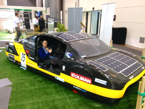 Testing out a solar vehicle designed and built in Australia by engineering students at UNSW. The Sunswift prototype holds the world record for the fastest electric car over 500 km. Renewable energies are the way of the future.