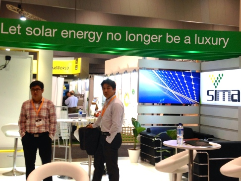 Chinese companies were present at The Clean Energy Show exhibition, promoting solar and renewables technologies.