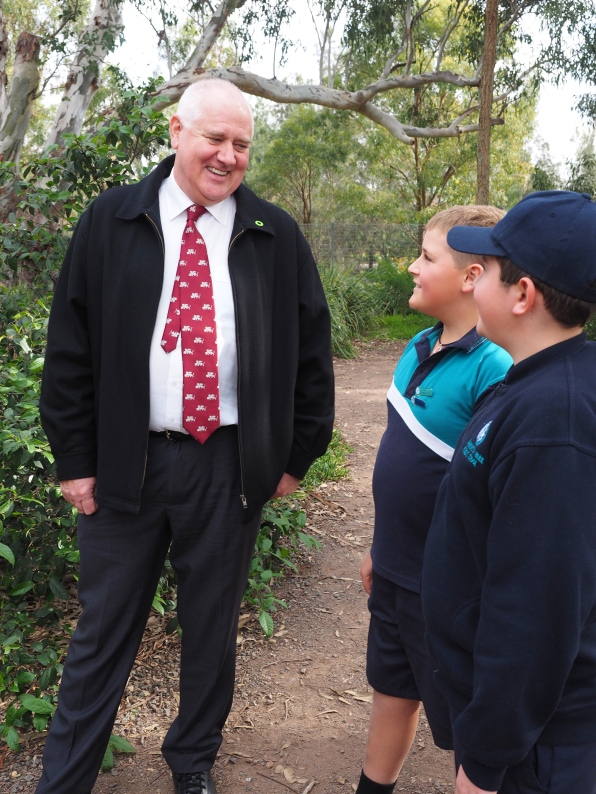 Principal Andy Best chats to some Grade 6 students.