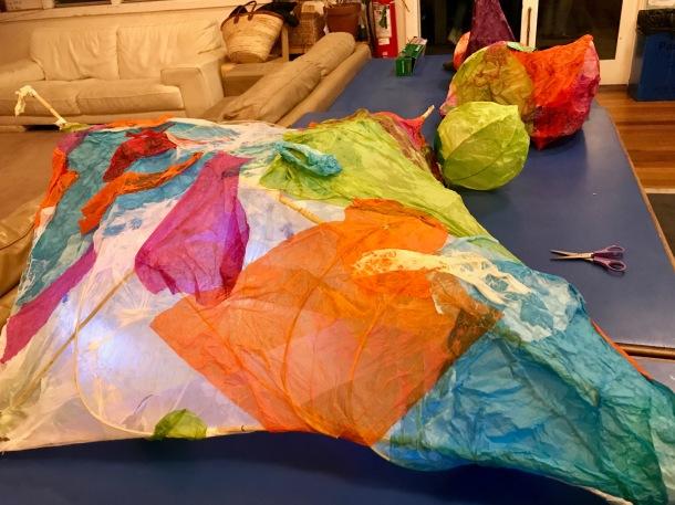 Making paper lanterns.