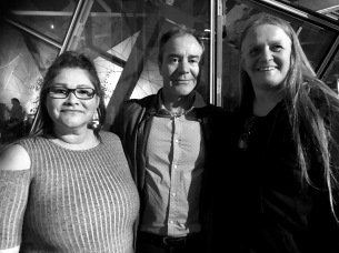 Earth honouring performers, Gina Bundle and Vicki Couzens, with Kim Scott at the after-party.